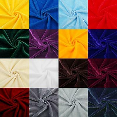 PER YARD FLOCKED VELVET STRETCH Fabric 60'' Inch Wide Dress Craft Curtain COLORS