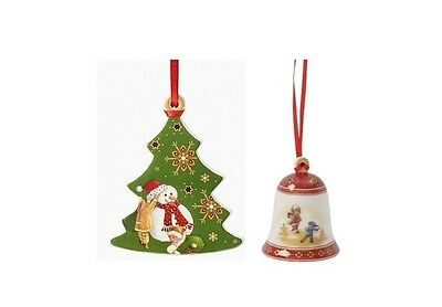 2 Pc Villeroy & Boch My Christmas Tree Bell / Tree Ornament New in Box