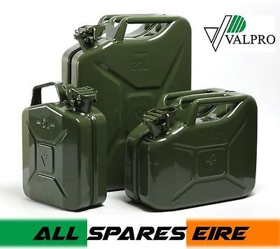 Military Style Steel Jerry Can Petrol Diesel Fuel Storage Sizes 5 10 20 Litre