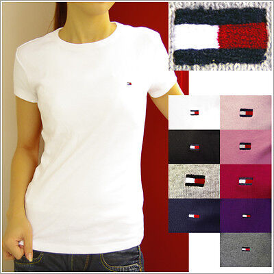 TOMMY HILFIGER womens Crew neck tee shirt Snug Fit