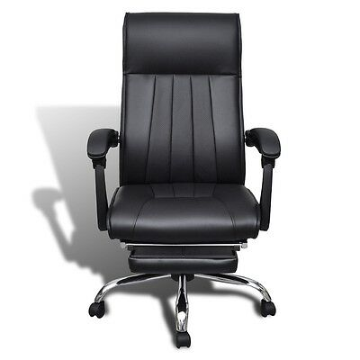 High Back Executive Office Chair Black Artificial Leather Recliner w/ Footrest