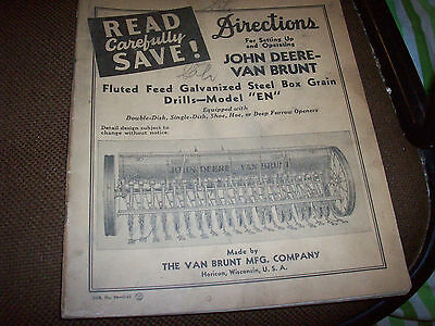 Original 1942 John Deere Van Brunt EN Grain Drill Manual