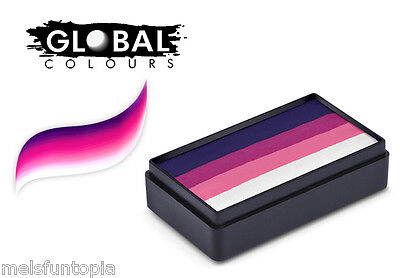 Global Colours 30g Naples Fun Stroke Rainbow Cake, Professional Face Paint Party