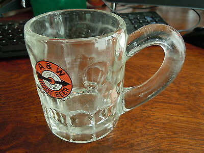 "Very Rare Heavy Glass "" A & W "" Root Beer Mug With Rare -- Ear Shape -- Handle"