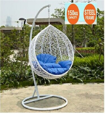 NEW HANGING SWING EGG CHAIR Rattan OUTDOOR WHITE BASKET & BLUE CUSHION