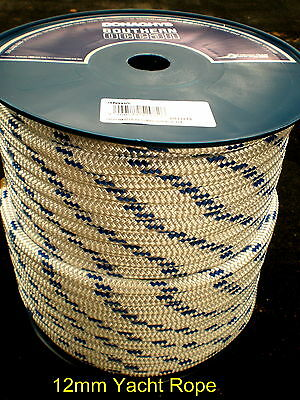 "50m COIL x 12mm DOUBLE BRAID POLYESTER YACHT ROPE ""NEW"""