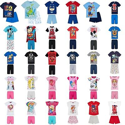 Boys Girls Kids Disney Pyjamas Short Sleeve T-Shirt Shorts Set Age 1,5-12 Years