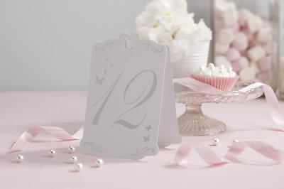 Freestanding TABLE NUMBERS 1-12 white silver wedding anniversary butterfly