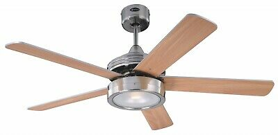 Large indoor ceiling fan light Westinghouse HERCULES Nickel 132cm with pull cord