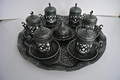 Turkish Coffee Set: 6 Cups with Delight Bowl & Tray Ottoman Vintage Rustic Style