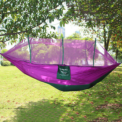 Travel Camping Portable Hammock Parachute Hanging Bed & Mosquito Net Purple New