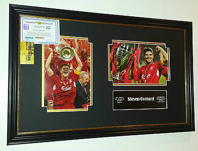 *** Rare STEVEN GERRARD of Liverpool Signed Photo Picture Display *** ISTANBUL