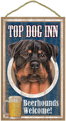 Top Dog Inn Beerhounds Welcome Wood Sign NEW Rottweiler