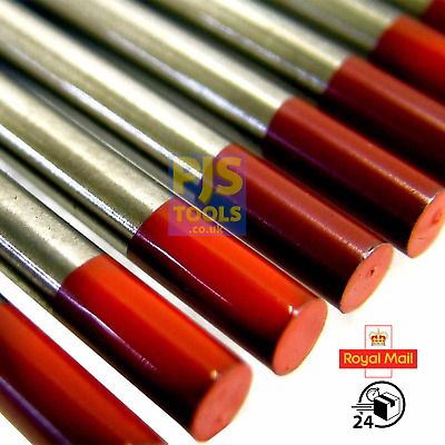 Red 2% thoriated tig tungsten electrodes packs of 10 All sizes 1.0mm - 6.4mm