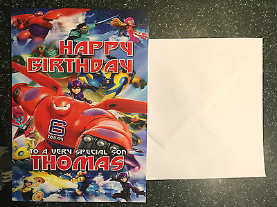 Personalised Big Hero 6 Birthday Card Inspired By Disney Grandson Nephew Son A5
