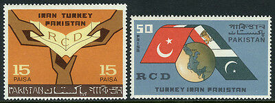 Pakistan 217-218, MNH. Regional Cooperation, 1st anniv. RCD. Map and Flags, 1965
