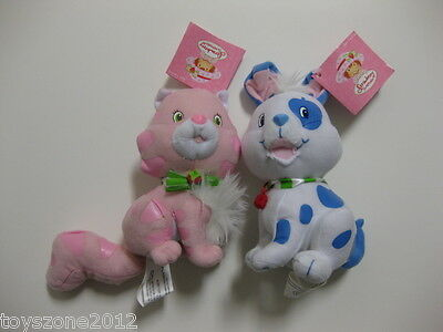 "** R@RE ** Strawberry Shortcake Custard Cat & Pupcake Dog 6.5"" Plush BRAND NEW"