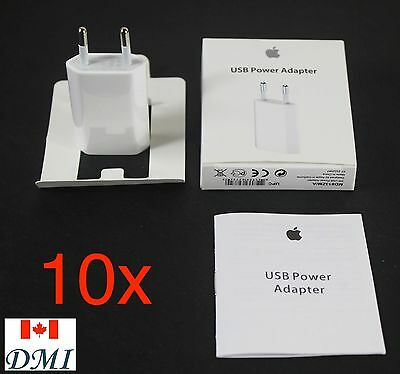 10x Original Genuine APPLE 5w 5 watt eu power adapter Wall Charger iPhone 6/5/4