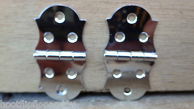 "1 x PAIR 1"" 25m FANCY HINGES CHROME ON BRASS FACE FITTING CABINET CUPBOARD BOX"