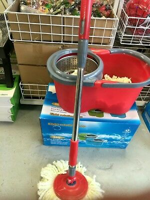 360° Spinning Rotating Floor Mop &Stainless Steel Spin Dry Bucket w/2 Mop Heads
