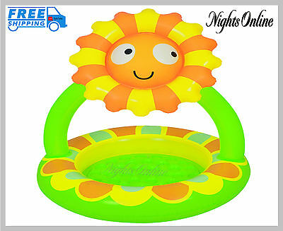 New Sunflower Canopy Pool, Pump Up Inflatable Outdoor Summer Baby Pool