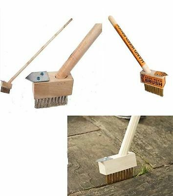 2 iN1 BLOCK PAVING WEED WIRE BRUSH STEEL HOOK PATIO PAVING LONG HANDLE SCRAPER