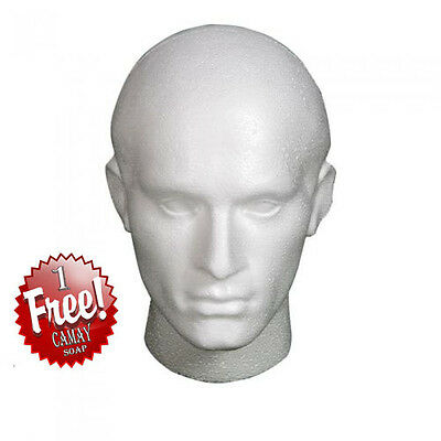 3 X Polystyrene White Male Display Head Mannequin For Wig + 1 Free Camay Soap