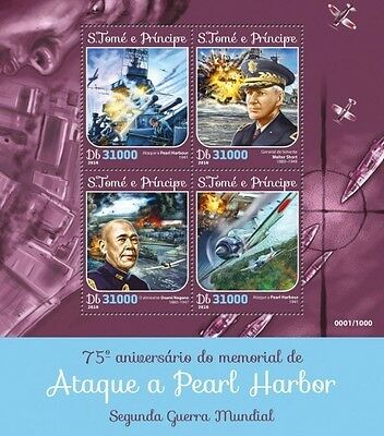Z08 Imperforated ST16109a Sao Tome and Principe 2016 Pearl Harbor MNH