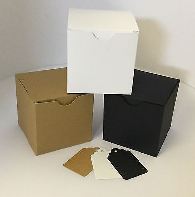 10cm squared boxes with free gift tags 520 micron Brown kraft/White/Black card