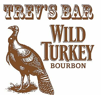 Wild Turkey Bar Fridge Vinyl Cut Sticker Decal With Your Name