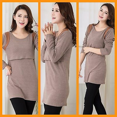 New Beige Maternity Breastfeeding Nursing Jumper Dress Size 8 10 12