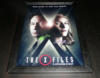 """The X-Files Castx2 Signed Framed A4 12""""x8"""" Photo Poster Gillian Anderson New S10"""
