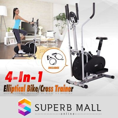 4in1 Adjustable Resistance Elliptical Cross Trainer Fitness Exercise Bike