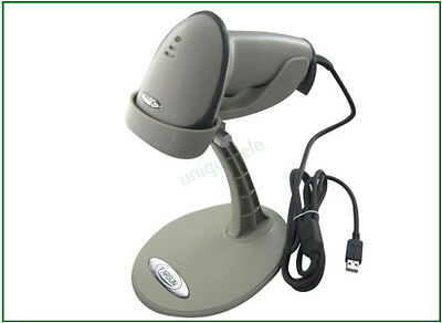 Grey Acan Automatic USB 9800 Laser Barcode Scanner Barcode Reader +Holder Stand