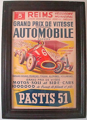 1950s ORIGINAL FRENCH GRAND PRIX DE VITESSE POSTER REIMS VELODROME ~ VGC FRAMED