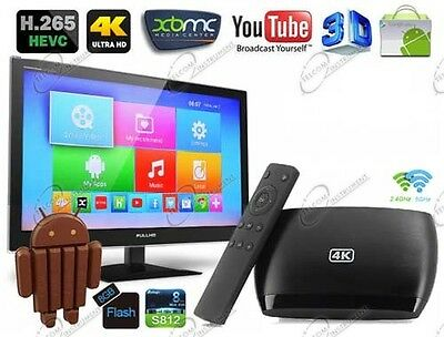 Box Android TV ULTRA HD Lettore Multimediale Google Play Kitkat XBMC Miracast 4K