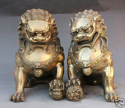 Chinese A Pair brass copper carved FengShui Guardian Lion Foo Fu Dog Statue