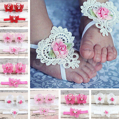 Colorful Foot Flower Barefoot Sandals+Butterfly Headband Set Infants Girl Baby
