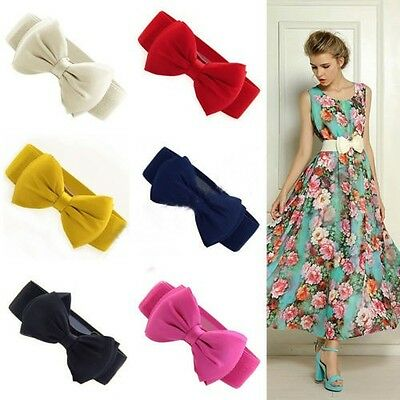 Womens Wide BowKnot Belt Elastic Stretch Waist Band Wedding Vintage Fashion NEW