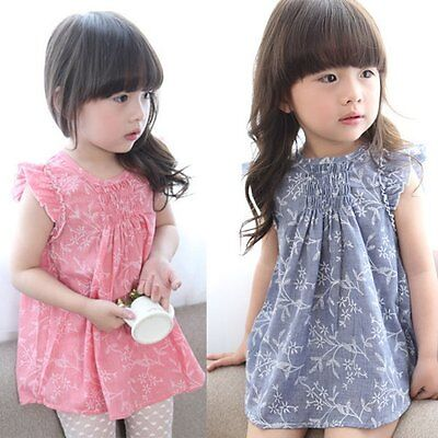Toddler Kids Baby Girls Summer Dress Floral Princess Party Pageant Dress Clothes