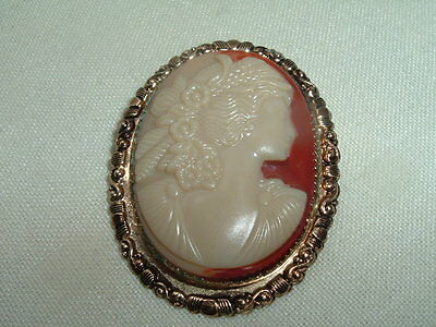Vintage Estate Molded Celluloid Cameo Pin In Gift Box