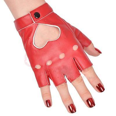 Red Show Pole Dance Half Finger Pu Leather Peach Heart Gloves Evening Sex