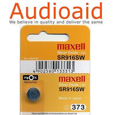 2Pc Sr916Sw (373) Genuine Maxell Silver Oxide Battery - Made In Japan (Not Fake)