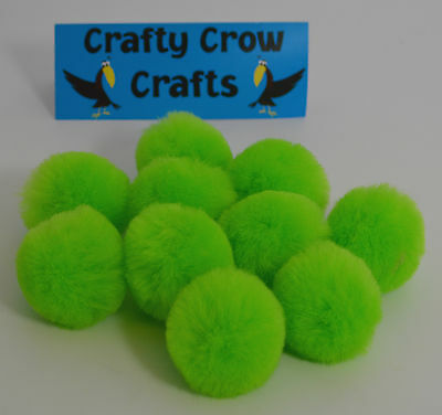 10 x NEW LARGE NEW LIME GREEN NEW COLOUR 50mm POM POMS