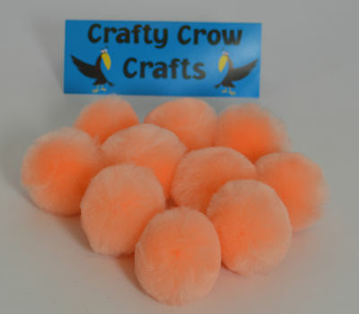10 x NEW LARGE NEW PEACH NEW COLOUR 50mm POM POMS