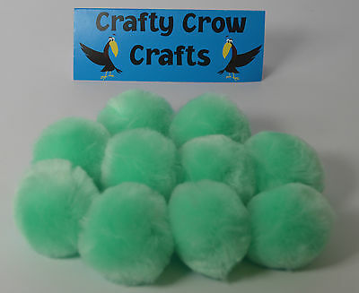 10 x NEW LARGE NEW MINT GREEN NEW COLOUR 50mm POM POMS