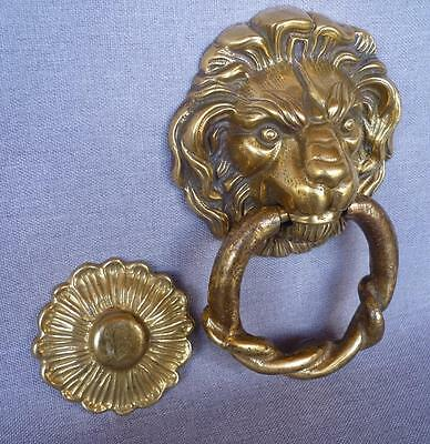 """Antique french door knocker early 1900's made of ormolu lion 7""""tall 2lb"""