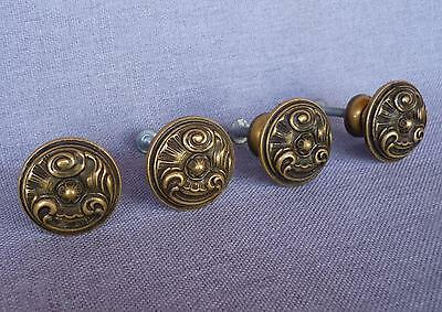 4 vintage french drawer handles late 1900's made of brass diameter 1""