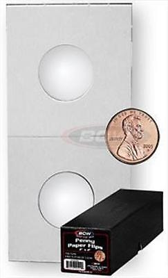 1000 BCW 2 x 2 Penny Size Cardboard Coin Flips + Black Storage Box 2x2 holders