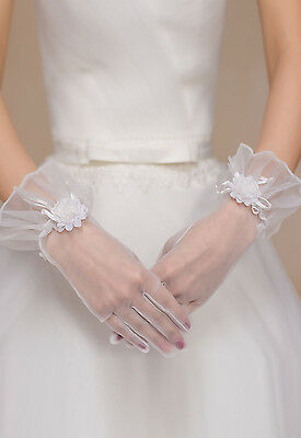 White Enchanting Lace Diamond Flower Gloves Wedding Bridal / Holy Communion